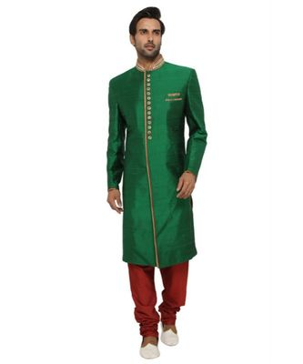 green Men's Sherwani in Silk Fabric