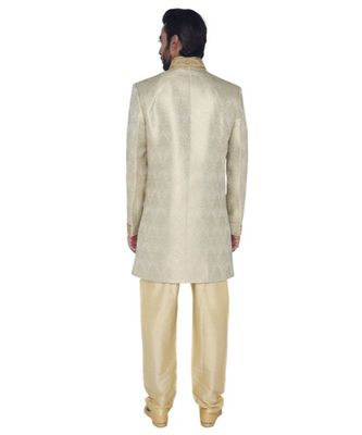 grey Men's Sherwani in Silk Fabric