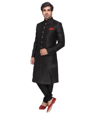 black Men's Sherwani in Silk Fabric