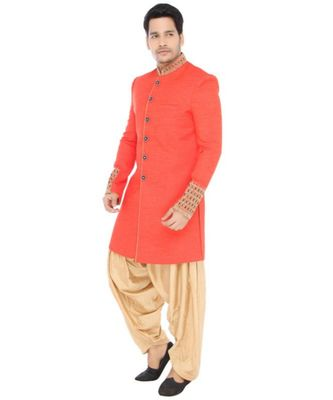 orange Men's Sherwani in Silk Fabric