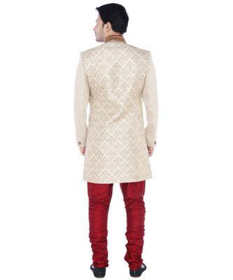 white Men's Sherwani in Silk Fabric