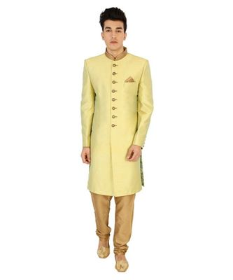 yellow Men's Sherwani in Silk Fabric