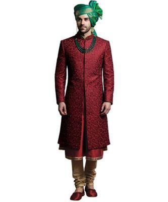 maroon Men's Sherwani in Silk Fabric