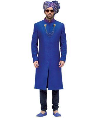 blue Men's Sherwani in Silk Fabric