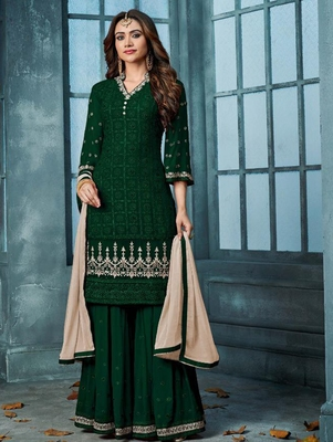 Green Heavy Faux Georgette With Embroidery Palazo Suit