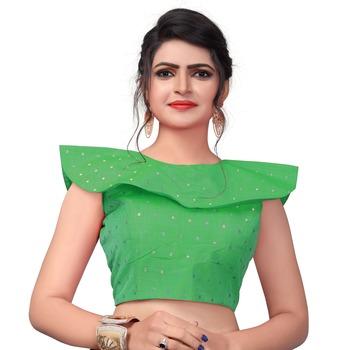 Green Women'S Embroiderey Malbari Silk Blouse