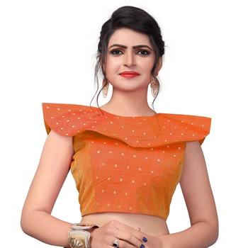 Orange Women's Embroiderey Malbari Silk Blouse