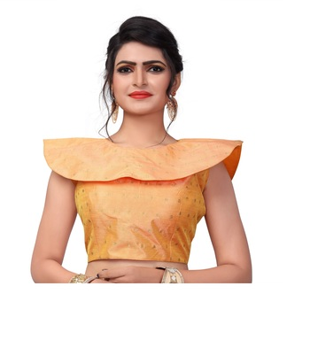 Peach Women's Embroiderey Malbari Silk Blouse
