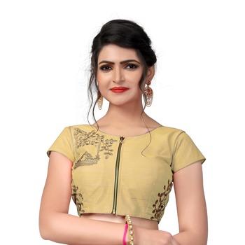 Beige Designer Embroiderey Malbari Silk Extra Sleeve With Blouse