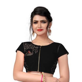 Black Designer Embroiderey Malbari Silk Extra Sleeve With Blouse