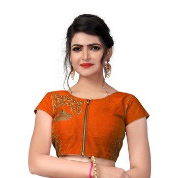 Dark Orange Designer Embroiderey  Malbari Silk Extra Sleeve With Blouse