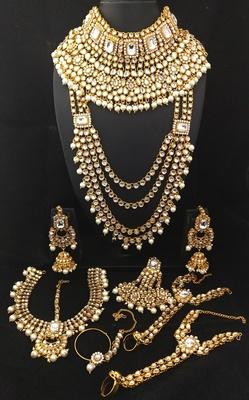 Designer White CZ Pearl Kundan Full Bridal Jewelry Set
