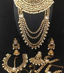 Designer White CZ Pearl Kundan Full Bridal Jewelry Set