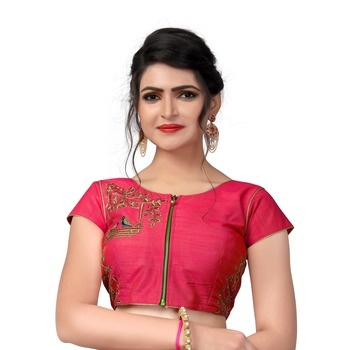 Pink Designer Embroiderey Malbari Silk Extra Sleeve With Blouse
