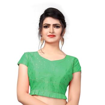 Green Designer Malbari Silk Extra Sleeve With Blouse