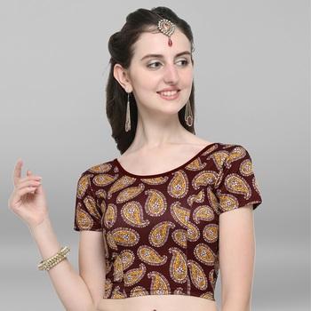 Women's Cotton Lycra Digital Printed Readymade Blouse