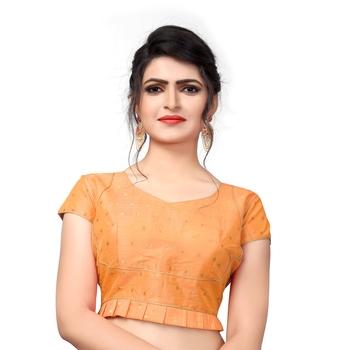 Light Orange Designer  Malbari Silk Extra Sleeve With Blouse
