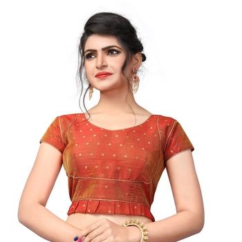 Orange Designer Malbari Silk Extra Sleeve With Blouse