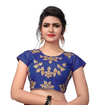 Blue Designer Embroiderey Malbari Silk Extra Sleeve With Blouse