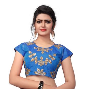 Light Blue Designer Embroiderey  Malbari Silk Extra Sleeve With Blouse