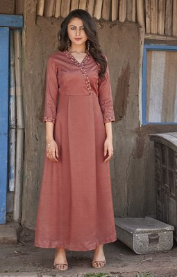 Brown Embroidered Silk Ethnic Kurtis
