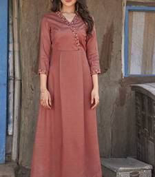 Brown embroidered silk ethnic-kurtis
