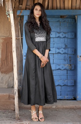 Black Embroidered Silk Ethnic Kurtis