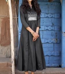 Black embroidered silk ethnic-kurtis