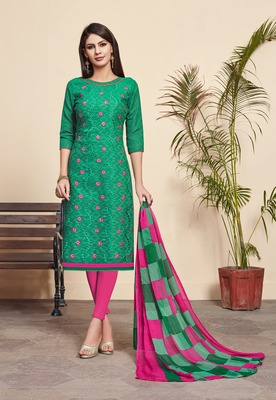 Green embroidered blended cotton salwar