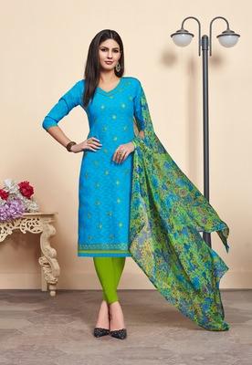 Sky-blue embroidered blended cotton salwar