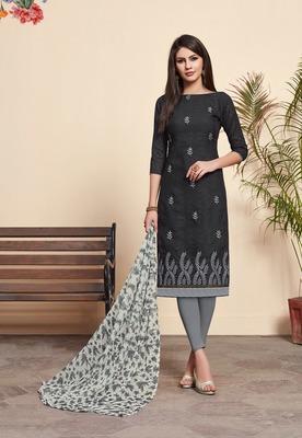 Black Embroidered Blended Cotton Salwar