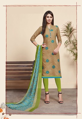 Beige embroidered blended cotton salwar