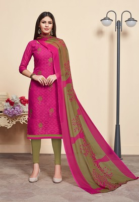 Pink embroidered blended cotton salwar