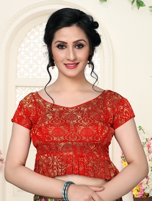 Red Women'S Jacquard  With V Neck Blouse