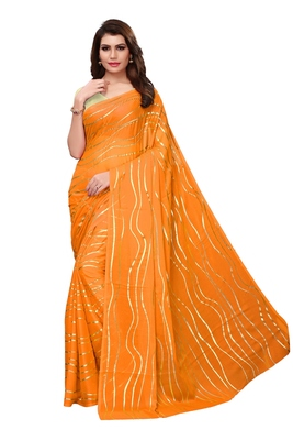 Mustard plain silk blend saree with blouse