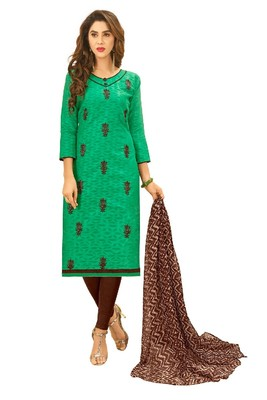 Dark-green embroidered cotton salwar