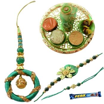Vibrant Green Golden Bhaiya Bhabhi Rakhi Set- 6 items