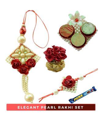 Pearl White - Red Rose Bhaiya  Bhabhi Rakhi Set- 6 items