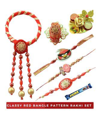 Classy Red Bangle Bhaiya Bhabhi Rakhi Set with Kids- 8 items