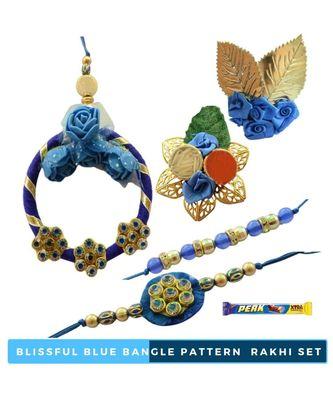 Blissful Blue Bangle Pattern  Bhaiya Bhabhi Rakhi Set - 7 items