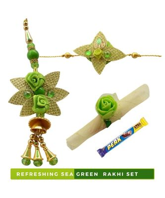 Eye Refreshing Sea Green Bhaiya Bhabhi Rakhi Set - 5 items