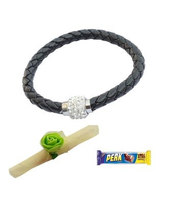 Magnetic Braided & Stone Studded Black Braceletcum Rakhi For Brother