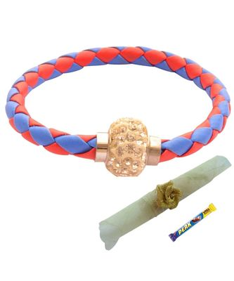 Magnetic Braided & Stone Studded Red & Blue Bracelet cum Rakhi For Brother