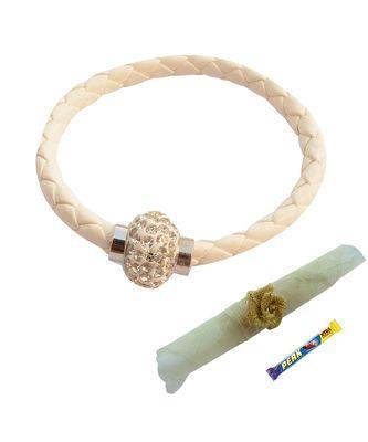Magnetic Braided & Stone Studded Pure White Bracelet cum Rakhi For Brother