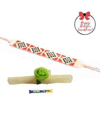 Fruity Peach Seed Beaded  Bracelet cum Rakhi For Brother