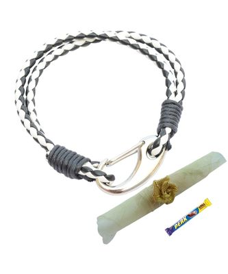 Double Layered Black & White Braided Bracelet cum Rakhi For Brother