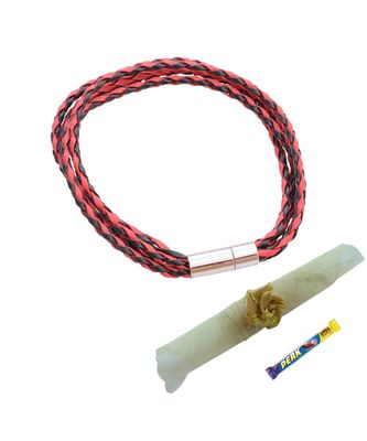 Double Layered Energetic Red Black  Braided Bracelet cum Rakhi For Brother