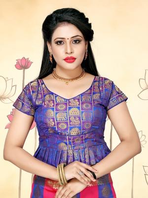 Blue Women'S Jacquard Silk With V-Neck Blouse