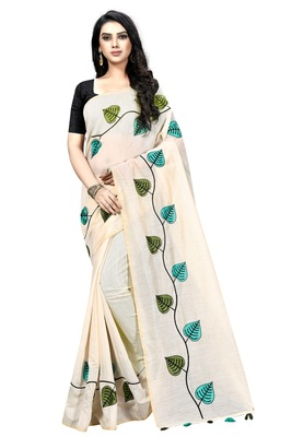 Cream embroidered chanderi saree with blouse