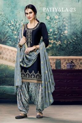 Blue embroidered satin unstitched salwar with dupatta